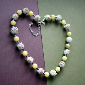 Donna Dressler Beaded Art Glass Floral Necklace